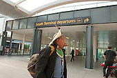 12 June 2014. Kayapo Chief Raoni Metuktire arrives at Gatwick Airport for his flight to meet the King of Norway.