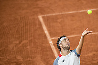 2nd October 2020, Roland Garros, Paris, France; French Open tennis, Roland Garros 2020;  Marco Cecchinato of Italy serves during the mens singles third round match against Alexander Zverev of Germany