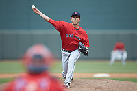 Salem Red Sox relief pitcher Hunter Smith (37) delivers a pitch to the plate against the Winston-Salem Dash at BB&T Ballpark on April 22, 2018 in Winston-Salem, North Carolina.  The Red Sox defeated the Dash 6-4 in 10 innings.  (Brian Westerholt/Four Seam Images)