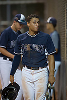 AZL Padres 2 second baseman Sean Guilbe (10) during an Arizona League game against the AZL Padres 1 at Peoria Sports Complex on July 14, 2018 in Peoria, Arizona. The AZL Padres 1 defeated the AZL Padres 2 4-0. (Zachary Lucy/Four Seam Images)