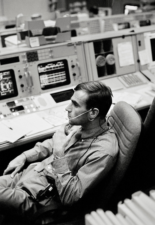 Image copyright John Angerson. <br /> STS-72 mission training.<br /> The 'Capcom' or Spacecraft Communicator was the role filled by a trained astronaut, maintaining nominal air-to-ground communications between the Mission Control Center and the orbiting spacecraft. <br /> Johnson Space Center Houston, Texas, USA.
