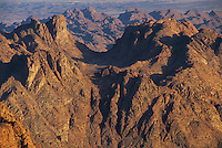 View from Mount Sinai at sunrise, Sinai mountains, Egypt, Africa