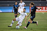 SAN JOSE, CA - SEPTEMBER 19: Diego Valeri #8 of the Portland Timbers and Florian Jungwirth #23 of the San Jose Earthquakes during a game between Portland Timbers and San Jose Earthquakes at Earthquakes Stadium on September 19, 2020 in San Jose, California.