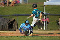 Dry Pond Blue Sox first baseman Derek Farley (40) (SouthLake Christian HS) stretches for a low throw as Justin Fox (2) (Erskine College) of the Mooresville Spinners steps on the base at Moor Park on July 2, 2020 in Mooresville, NC.  The Spinners defeated the Blue Sox 9-4. (Brian Westerholt/Four Seam Images)