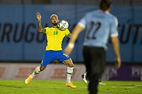 17th November 2020; Centenario Stadium, Montevideo, Uruguay; Fifa World Cup 2022 Qualifying football; Uruguay versus Brazil; Douglas Luiz of Brazil brings down the high pass off his chest