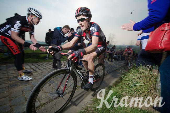 Danilo Wyss (CHE/BMC) up the Paterberg (max 20%)<br /> <br /> 57th E3 Harelbeke 2014