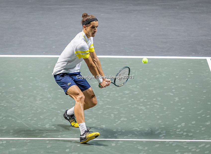 Rotterdam, The Netherlands, 28 Februari 2021, ABNAMRO World Tennis Tournament, Ahoy, Qualyfying match:    Pierre-Huges Herbert (FRA)<br /> Photo: www.tennisimages.com/henkkoster