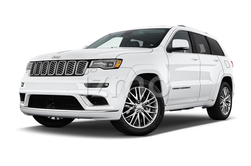 Stock pictures of low aggressive front three quarter view of 2017 JEEP Grand-Cherokee Summit 5 Door SUV Low Aggressive