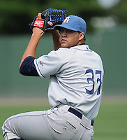 Pitcher Albert Campos (37) of the Asheville Tourists, Class A affiliate of the Colorado Rockies, prior to a game against the Greenville Drive on May 1, 2011, at Fluor Field at the West End in Greenville, S.C. Photo by Tom Priddy / Four Seam Images