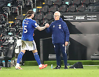 20th March 2021; Liberty Stadium, Swansea, Glamorgan, Wales; English Football League Championship Football, Swansea City versus Cardiff City; Aden Flint of Cardiff City is congratulated by Mick McCarthy, Manager of Cardiff City after the 0-1 win