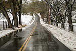 A rare late autumn snowfall covers the Sierra Foothill town of Jackson, Calif.<br /> <br /> Butte Mt. Rd.<br /> <br /> Country road