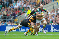 George Robson of Harlequins charges upfield during the Aviva Premiership match between London Wasps and Harlequins at Twickenham on Saturday 1st September 2012 (Photo by Rob Munro).