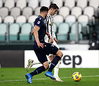 Calcio, Serie A: Juventus FC - S.S.Lazio, Turin, Allianz Stadium, March 6, 2021.<br /> Juventus' Alvaro Morata (r) is going to score in spite of  Lazio's Wesley Hoedt (l) during the Italian Serie A football match between Juventus and Lazio at the Allianz stadium in Turin, on March 6, 2021.<br /> UPDATE IMAGES PRESS/Isabella Bonotto