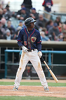 Jose Fernandez (5) of the Lancaster JetHawks bats during a game against the Modesto Nuts at The Hanger on April 25, 2015 in Lancaster, California. Lancaster defeated Modesto, 5-4. (Larry Goren/Four Seam Images)