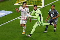 ST PAUL, MN - SEPTEMBER 27: Andrew Putna #51 of Real Salt Lake goes for the ball during a game between Real Salt Lake and Minnesota United FC at Allianz Field on September 27, 2020 in St Paul, Minnesota.