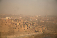 A view of Kashgar's Old City from within a ferris wheel overlooking the city in Kashgar, Xinjiang, China.
