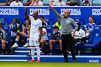 11th September 2021; King Power Stadium, Leicester, Leicestershire, England;  Premier League Football, Leicester City versus Manchester City; Manchester City Manager Pep Guardiola shouts instructions as Fernandinho prepares to come on as a substitute