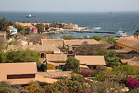 Ferry on Right Arriving from Dakar (in far distance), Goree Island, Senegal.