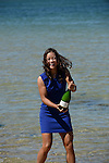 Na Li (CHN), women's champion of the 2014 Australian Open, celebrates with champagne in Melbourne Australia on January 25, 2014.