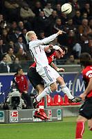 Kopfballduell zwischen Christian Lell (Bayern) und Martin Fenin (Eintracht)<br /> Eintracht Frankfurt vs. FC Bayern Muenchen, Commerzbank Arena<br /> *** Local Caption *** Foto ist honorarpflichtig! zzgl. gesetzl. MwSt. Auf Anfrage in hoeherer Qualitaet/Aufloesung. Belegexemplar an: Marc Schueler, Am Ziegelfalltor 4, 64625 Bensheim, Tel. +49 (0) 6251 86 96 134, www.gameday-mediaservices.de. Email: marc.schueler@gameday-mediaservices.de, Bankverbindung: Volksbank Bergstrasse, Kto.: 151297, BLZ: 50960101
