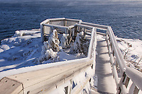 The cliffs and trees at Tettegouche State Park are sculpted with ice  from recent wind and waves. The stairway and observation platform are decked with hundreds of icicles. Footing is treacherous but the views are spectacular!