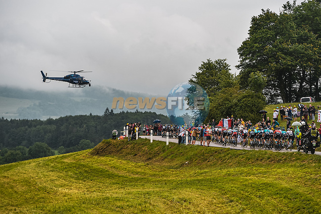 The peloton during Stage 8 of the 2021 Tour de France, running 150.8km from Oyonnax to Le Grand-Bornand, France. 3rd July 2021.  <br /> Picture: A.S.O./Charly Lopez | Cyclefile<br /> <br /> All photos usage must carry mandatory copyright credit (© Cyclefile | A.S.O./Charly Lopez)