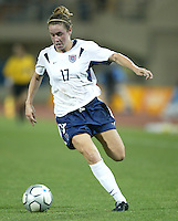 23 August 2004:   Heather O'Reilly in action against Germany during the semifinal game at Pankritio Stadium in Heraklio, Greece.     USA defeated Germany, 2-1 in overtime.   Credit: Michael Pimentel / ISI
