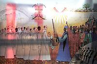 SENEGAL, Benedictine monastery Keur Moussa / Senegal, Benediktinerkloster Keur Moussa, Glasmalerei, Ankunft der Missionare in Afrika, Übergabe der Kora
