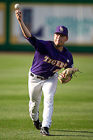 LSU Tigers pitcher Joey Bourgeois #25 AAA warms up before the NCAA baseball game against the Mississippi State Bulldogs on March 17, 2012 at Alex Box Stadium in Baton Rouge, Louisiana. The 10th-ranked LSU Tigers beat #21 Mississippi State, 4-3. (Andrew Woolley / Four Seam Images).