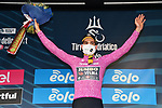 Wout Van Aert (BEL) Team Jumbo-Visma also retains the points Maglia Ciclamino at the end of Stage 3 of Tirreno-Adriatico Eolo 2021, running 219km from Monticiano to Gualdo Tadino, Italy. 12th March 2021. <br /> Photo: LaPresse/Gian Mattia D'Alberto   Cyclefile<br /> <br /> All photos usage must carry mandatory copyright credit (© Cyclefile   LaPresse/Gian Mattia D'Alberto)