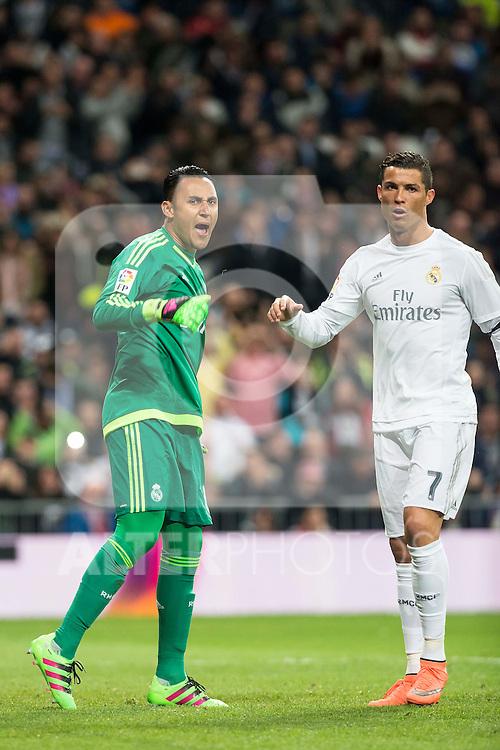 Real Madrid's Keylor Navas and Cristiano Ronaldo after stops the penalty and Sevilla FC's  during La Liga match. March 20,2016. (ALTERPHOTOS/Borja B.Hojas)