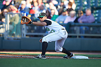 Dayton Dragons first baseman Avain Rachal (22) stretches for a throw during a game against the Great Lakes Loons on May 21, 2015 at Fifth Third Field in Dayton, Ohio.  Great Lakes defeated Dayton 4-3.  (Mike Janes/Four Seam Images)