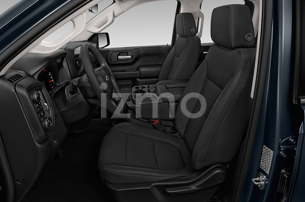 Front seat view of a 2020 Chevrolet Silverado 1500 Custom Trail Boss 4 Door Pick Up front seat car photos