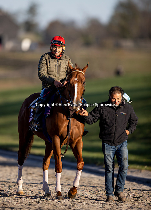 November 3, 2020: Chaos Theory, trained by trainer John W. Sadler, exercises in preparation for the Breeders' Cup Turf Sprint at  Keeneland Racetrack in Lexington, Kentucky on November 3, 2020. Alex Evers/Eclipse Sportswire/Breeders Cup