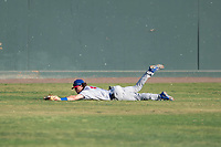 Stockton Ports center fielder Skye Bolt (9) slides along the grass after making a diving catch during a California League game against the Visalia Rawhide at Visalia Recreation Ballpark on May 8, 2018 in Visalia, California. Stockton defeated Visalia 6-2. (Zachary Lucy/Four Seam Images)
