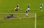 Hibs v St Johnstone…24.11.20   Easter Road      SPFL<br />David Wotherspoon scores his goal<br />Picture by Graeme Hart.<br />Copyright Perthshire Picture Agency<br />Tel: 01738 623350  Mobile: 07990 594431