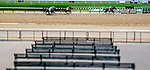 Scenes from an undercard race on Belmont Stakes Day at Belmont race track in Elmont, New York, USA, 20 June 2020. The Belmont is being run without fans due to coronavirus SARS-CoV-2 which causes the Covid-19 disease and while it has always been the third leg of the Triple Crown, due to Covid-19 it is, instead the first leg in 2020. (Image made with a Variable Plane Adapted Lens)