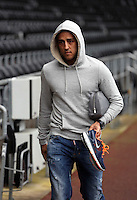 Wednesday, 23 April 2014<br /> Pictured: Neil Taylor arriving.<br /> Re: Swansea City FC are holding an open training session for their supporters at the Liberty Stadium, south Wales,