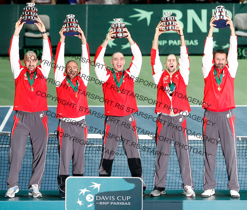 Serbian  Davis Cup team, Davis Cup finals, Serbia vs France in Belgrade Arena in Belgrade, Serbia, Sunday, 5. December 2010. (credit & photo: Pedja Milosavljevic/SIPA PRESS)