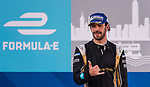 Jean-Eric Vergne (l) of France from TECHEETAH who won the second position at the FIA Formula E Hong Kong E-Prix Round 1 celebrates at the Central Harbourfront Circuit on 02 December 2017 in Hong Kong, Hong Kong. Photo by Marcio Rodrigo Machado / Power Sport Images