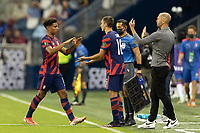 KANSAS CITY, KS - JULY 11: Nicholas Gioacchini #8 of the United States exits the field for James Sands #16 during a game between Haiti and USMNT at Children's Mercy Park on July 11, 2021 in Kansas City, Kansas.