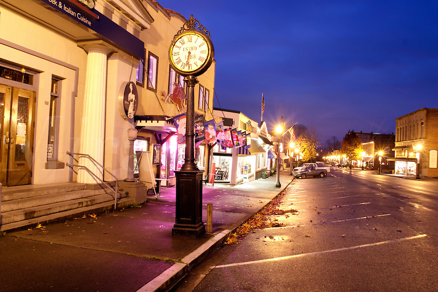 First Street in early morning, Snohomish, Snohomish County, Washington, US