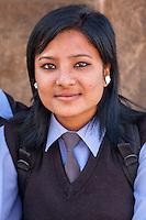 Bhaktapur, Nepal.  Newari Girl, Teenager, in Final Year of Secondary School.