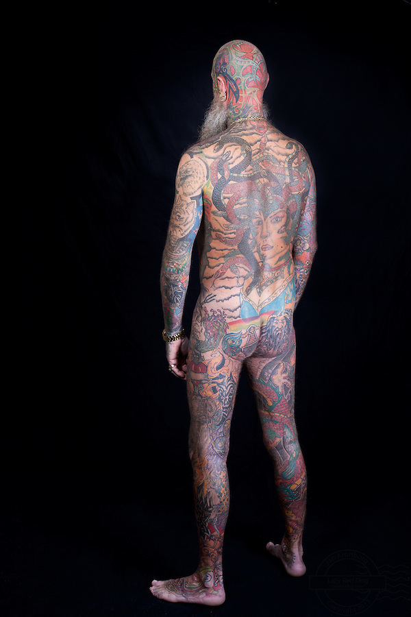 The most tattooed man in Denmark. Almost entire body covered in ink, including facial tattoo.<br /> From the Kolding Tattoo Convention, Denmark.