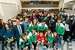 Mercy Mounthawk basketball team celebrate winning the U-19 All Ireland Basketball final at the school on Wednesday.