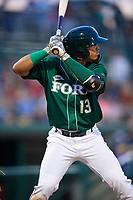 Fort Wayne TinCaps third baseman Luis Almanzar (13) at bat during a game against the West Michigan Whitecaps on May 17, 2018 at Parkview Field in Fort Wayne, Indiana.  Fort Wayne defeated West Michigan 7-3.  (Mike Janes/Four Seam Images)