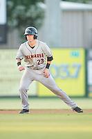 Chance Sisco (23) of the Delmarva Shorebirds takes his lead off of second base against the Kannapolis Intimidators at CMC-NorthEast Stadium on July 1, 2014 in Kannapolis, North Carolina.  The Intimidators defeated the Shorebirds 5-2. (Brian Westerholt/Four Seam Images)