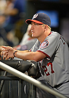 24 July 2012: Washington Nationals pitcher Jordan Zimmermann watches a game against the New York Mets at Citi Field in Flushing, NY. The Nationals defeated the Mets 5-2 to take the second game of their 3-game series. Mandatory Credit: Ed Wolfstein Photo