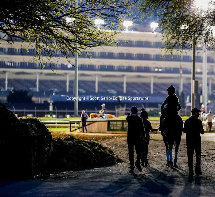 April 28, 2021: Scenes from the backside stable area before sunrise as horses prepare for the Kentucky Derby and Kentucky Oaks at Churchill Downs. Scott Serio/Eclipse Sportswire/CSM