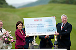 3rd June 2012 - Celtic Manor Resort - Newport - South Wales - UK :  Midori Miyazaki (ISPS Handa) receives a cheque for £21000 for funds raised on behalf of the ISPS Handa foundation at the Wales Open from Celtic Manor from Carwyn Jones AM, The First Minister for Wales.